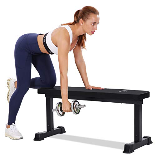 """MaxKare Flat Weight Bench Capacity 600lbs Workout Exercise Fitness Bench with 42"""" Long 11.8"""" Wide 2'' Thick Backrest Cushion for Home Gym Strength Training"""