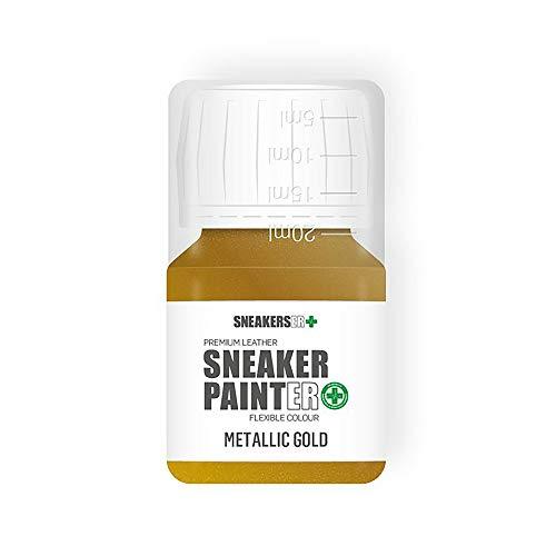 SNEAKERSER SNEAKER PINTER Premium - Pintura de piel flexible para zapatillas, zapatillas de deporte, zapatos y calzado: oro metálico – 30 ml
