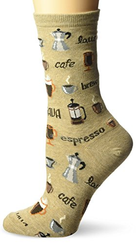 Hot Sox Women's Food and Drink Novelty Casual Crew Socks, Coffee (Hemp Heather), Shoe Size: 4-10