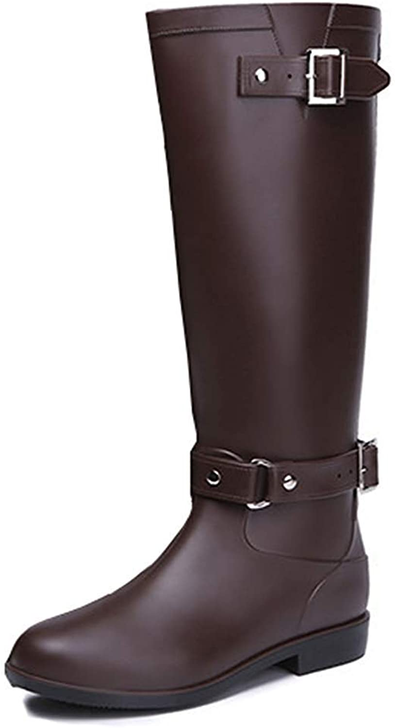 Women's Buckle Strap Round Toe Waterproof Non Slip Chunky Low Heel Zip Up Knee High Boots Zipper