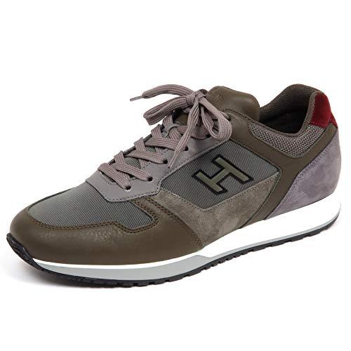 Hogan F6770 Sneaker Uomo Green/Grey/Bordeaux H321 Suede/Tissue Shoe Man [9]