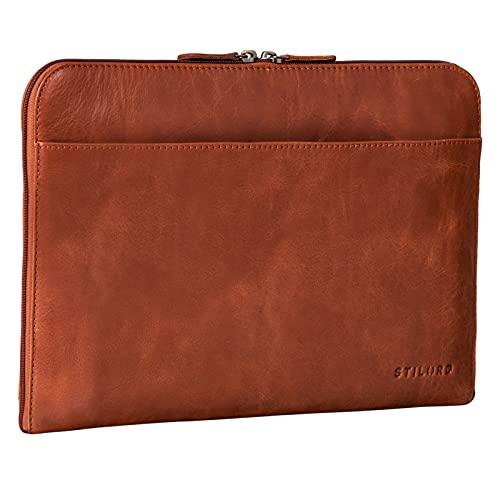 STILORD 'Troy' Funda de Cuero para Portátil de 13,3 Pulgadas Funda Vintage para MacBook o Laptop 13' Carpeta de Documentos Portafolio para Ordenador de Piel, Color:curtición Vegetal - Brandy