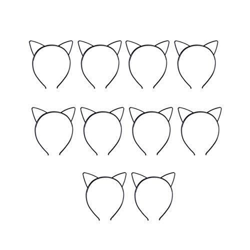Frcolor 10 Stück Katzenohren Haarreifen Haarband Ohren Stirnband Party Katze Kostüm Schmuck (Schwarz)