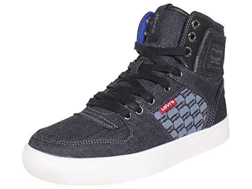 Levi's Mens Mason Hi Denim Fashion Hightop Sneaker Shoe, Black/Royal, 9.5 M