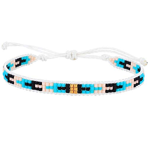 KELITCH Women Pearl Bracelets Wax Rope Wrap Bracelets Miyuki Beads Friendship Jewelry for Summer (Green 66Q)