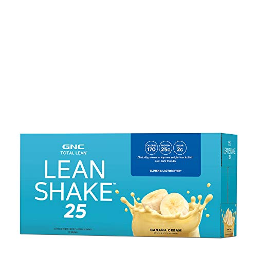 gnc protein shakes GNC Total Lean | Lean Shake 25 to Go Bottles | Low-Carb Protein Shake to Improve Weight Loss & BMI | Banana Cream | 12 Bottles