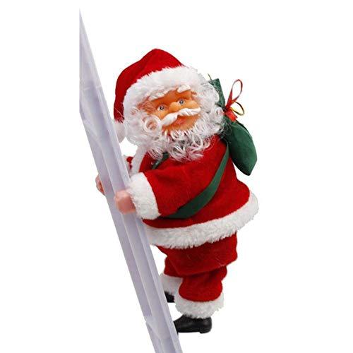Queta Scala di Babbo Natale, elettrica Babbo Natale su Scala Perfetto per pareti, finestre, Giardino e Albero di Natale Giocattolo per Natale