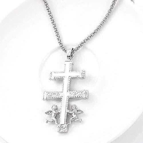 LBBYMX Co.,ltd Necklace Fashion Catholic Caravaca Crucifix Cross Necklace Cherub Angel Pendants Christian Necklaces for Women Men Jewelry
