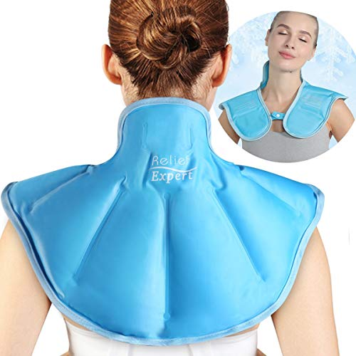 Relief Expert Large Neck Shoulder Ice Pack for Injuries Reusable Gel Cold Pack Wrap for Upper Back Pain Relief Cold Compress Therapy for Swelling, Bruises, Surgery