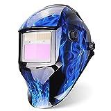 Energía Solar Careta Soldar Automatica,Gran Vista Casco de Soldadura de Oscurecimiento Máscara de Soldadores ARC TIG Mig/mag Grinding Completo con 5 Lentes
