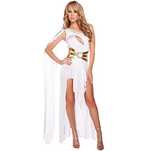 XYFW Diosa Sexy Cosplay Vestido De Fiesta De Navidad Diosa De Grecia De Halloween Vestido De Princesa rabe Disfraz De Halloween Tamao Completo,Blanco,S
