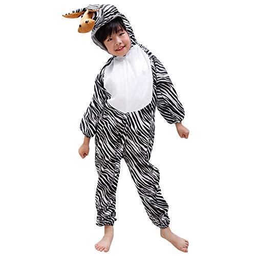 LPATTERN Baby/Kinder Jungen/Mädchen Cosplay Overall Tierkostüm Bühne Kleidung Spiel Kostüm Cartoon Jumpsuit mit Kapuze- Tier Motiv Kinderkostüm, Schwarz-Weiß Zebra, 134/140( Label:140CM)