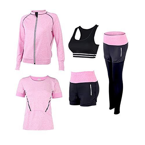 SCHUANG Damen 5Pcs Yoga Anzug T-Shirt BH Mantel Hose Shorts Set Jogging Fitness Gym Damen Sport Wear Trainingsanzüge Sweat Pink S-2XL,Pink-XL
