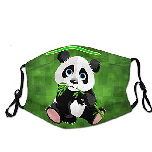Hanomes Erwachsene MundschutzΜąsķėń mit Panda Motiv, Waschbar BaumwolleAtmungsaktiver Staubdicht Bandana Wiederverwendbarer Halstuch für Damen und Herren A0728005