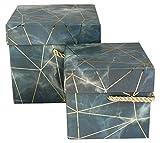 Emartbuy Set of 2 Cajas de Regalo Rígide, Estampado de Mármol Azul/Gris Con Líneas de Origami de Oro