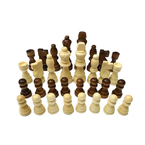 Busirde Scacchi Legno Set 7.7cm Re 32 Pezzi di Scacchi Pezzi degli Scacchi Figure Pedine Adulti Bambini Torneo Giocattolo Gioco Tailixing