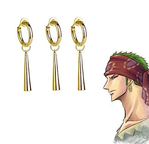 HNFGH Anime One Piece Pendientes Aleación, Cosplay Fiesta Utilería Accesorio Ear Clip, Joyería para Fans