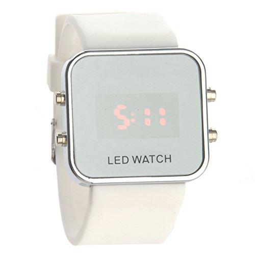 Pixnor Fashion Square Mirror Face Unisex Rote LED Digital Armbanduhr mit Datum Silikonband (weiß)