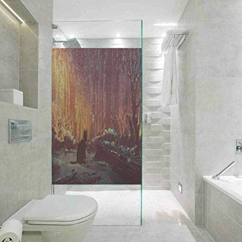 Best Review Of HeatControlPrivacyWindowFilmGlassStickers, Fantasy Surreal Lost Black Cat Deep Dark in Forest with Mystic Pi, Home Bathroom Toilet Decorative, 17.7″x35.4″