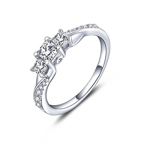 YL Anillo de compromiso Anillo de bodas de plata de ley 925 con Circonita para mujer Novia