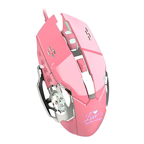 Gaming Mouse Wired, 6 Buttons, Chroma RGB Backlit, 3200 DPI Adjustable, Comfortable Grip Ergonomic Optical PC Computer USB Gaming Mice (Pink)