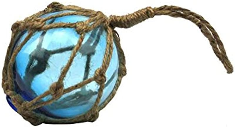 Handcrafted Nautical Decor Light Blue Japanese Glass Ball Fishing Float With Brown Netting Decoration 3
