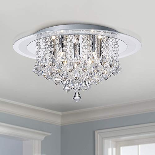 Bestier Modern Chrome Crystal Regentropfen Unterputz Kronleuchter Beleuchtung LED Deckenleuchte Lampe für Esszimmer Badezimmer Schlafzimmer Wohnzimmer G9 LED-Lampen Erforderlich