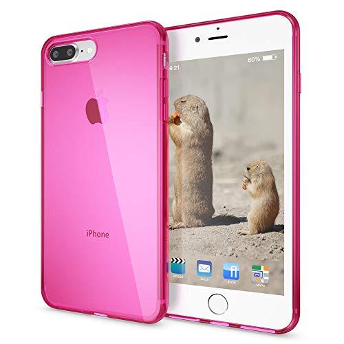 NALIA Custodia compatibile con iPhone 8 Plus / 7 Plus, Protezione Ultra-Slim Cover Case Protettiva Trasparente Morbido Cellulare in Silicone Gel, Gomma Clear Bumper Sottile - Pink Rosa