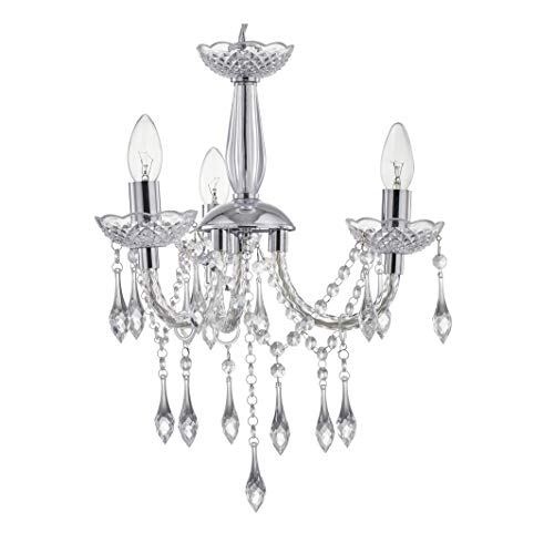 LeeZM Bedroom Crystal Chandelier Ceiling Lights Fitting Silver Chrome Small Hanging Lamp Modern 3 Lights Pendant Light With Acrylic Crystal Droplet For Living Room, Dining Room, Hallway,Kitchen island