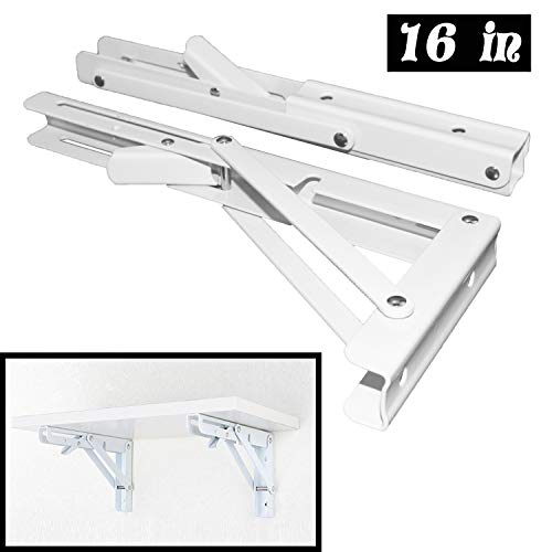 Folding Shelf Brackets - Heavy Duty Metal Collapsible Shelf Bracket for Bench Table, Shelf Hinge Wall Mounted Space Saving DIY Bracket, Max Load: 150 lb 2 PCS (16 Inch, White)