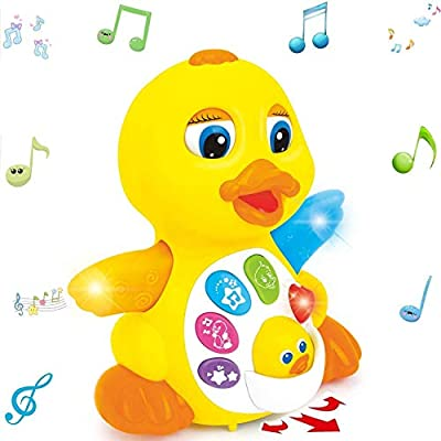 MOONTOY Singing Walking Dancing Duck Toys-Musical and Educational Toy for Girl or Boy - Crawling Flapping Duck Interactive Baby Toy with Light and Adjustable Sound for Toddlers, infant 1,2,3+year old from Moontoy