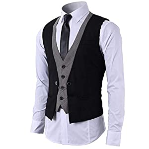Mentrend-Leisure メンズ フェイク 2枚 ジレ ベスト スーツ仕立て ビジネススーツ チェーン付き ブラック M