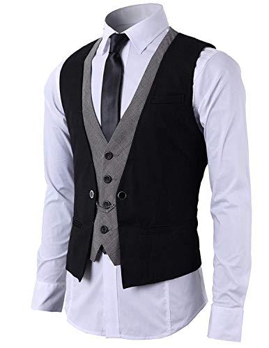 STTLZMC Hombre Chaleco de Traje Blazers Waistcoat sin Manga 2in1 Formal Boda Ceremonia,Negro,Large