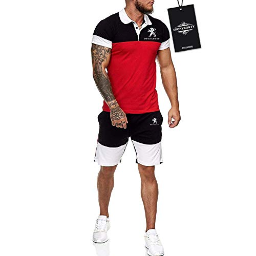Ashleyy Hombres Solapa Camiseta Bermudas Chandal Conjunto por Peu-geot Algodón Dos Piezas Corto Manga Tee Pantalones Ropa Deportiva Baloncesto / Rojo/L