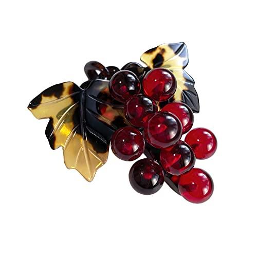 天然工房 べっこう屋さん 本べっ甲 ブローチ ペンダント ぶどう 葡萄 果実 デザイン バラフ 葉 柄 & 琥珀 レッドアンバー 丸玉 付き 030112-BP1