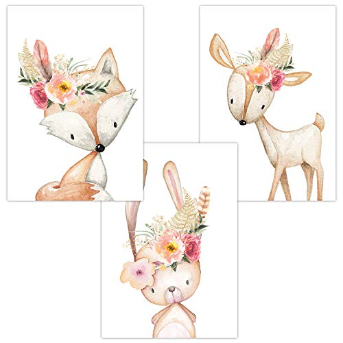 Wandbilder 3er Set für Babyzimmer Deko Poster | Kunstdruck DIN A4 | Dekoration Kinderzimmer Waldtiere Blumen Feder (Fuchs Hase Reh Cute Boho)