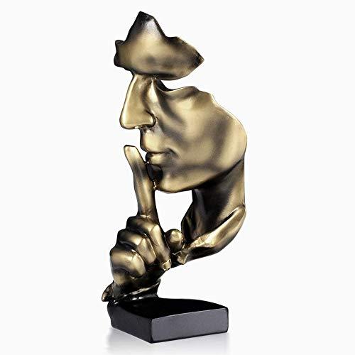 AILZNN Scultura Astratta Creativa Moderna, Retro Ornamento per Soggiorno in Ufficio, Pensatore Il Silenzio è Oro,Brown-28.5x11x10cm(11x4x4inch)