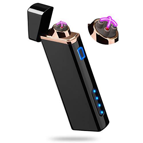 Feuerzeug, Elektro-Feuerzeug mit Batterieanzeige, Elektronisches Lichtbogen Feuerzeug USB Aufladbar Windfest Feuerzeug - S1700