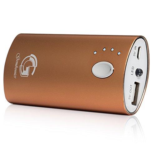 Gembonics - Batería Externa de 6000 mAh para iPhone 6, 5, 5S, 5C, 4S, iPod Touch, iPad 2,3,4, iPad mini, iPad Air, Samsung Galaxy S4, S3, S2, Google Nexus 4, 5, HTC One, Nokia Lumia 520, 1020 y la mayoría de teléfonos móviles incluyendo Apple, Android, tablets, PS Vita y otros dispositivos cargados por USB (Oro)