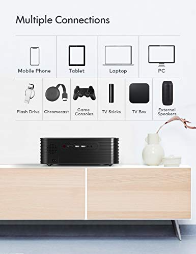 """Projector, APEMAN Full HD Native 1080P, Support 4K, 300"""" Screen LCD Video Projector, Remote Electronic Keystone Correction, Compatible with HDMI/USB/Phone/PC/PS4 for Home Cinema/Business Presentation"""