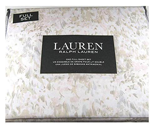 Ralph Lauren 4 Piece Queen Size Pastel Watercolor Abstract Floral Sheet Set 100% Cotton Pink, Taupe and Gray