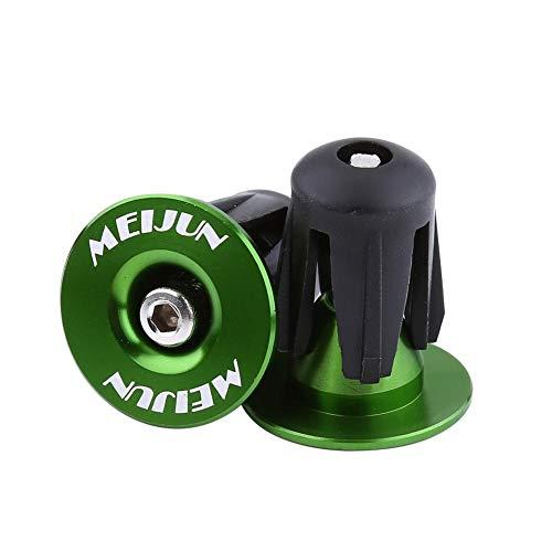 Yosoo Health Gear Tappi per Manubrio Bici, Manopole per Manubrio Bicicletta, Tappi per Manubrio in Alluminio, Tappi per Manubrio BMX MTB(Verde)