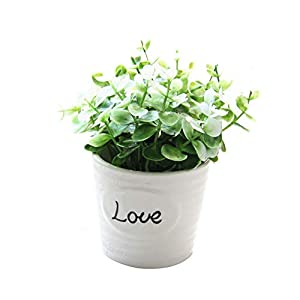 Fake Flowers Potted Artificial Flower Plants Bonsai DIY for Garden Wedding Living Room Decoration White