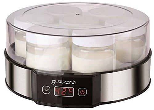 Guzzanti GZ-705 - Yogurtera (1,33 L, Negro, Acero inoxidable, Transparente, 0,19 L, Yogur, 14 h, 42 °C)