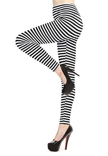 Verabella Women's Black & White Striped Ankle Length Stretchy Legging Pants