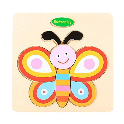 Soul hill Holzpuzzle for Kinder Puzzlespiel for 2-Jährige Junge Formen aus Holz Puzzle Holzpuzzle for 1 Jahr Olds Kleinkind Puzzle 2-3 Jahre Holz Hubschrauber zcaqtajro (Color : Butterfly)