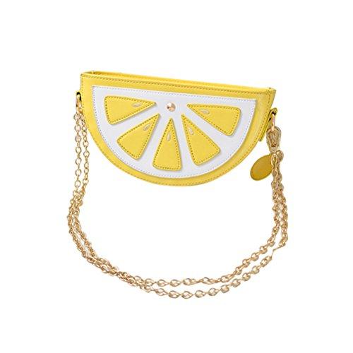 LUOEM Mädchen Umhängetasche Zitrone Tasche Frauen Obst Paket mit Gold Kette Umhängetasche Sommer Party Supplies