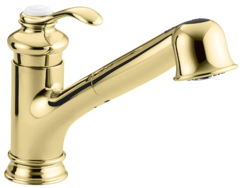 """KOHLER K-12177-PB Fairfax(R) Single Three-Hole Sink 9"""" Pull-Out spout Kitchen Faucet, Vibrant Polished Brass"""