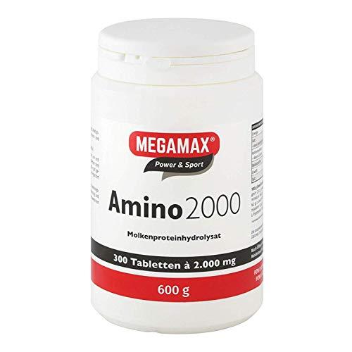 Megamax Amino 2.000 Aminosäuretabletten 300 Tabletten reines Molkenproteinhydrolysat | Aminosäuren Komplex mit (BCAA & EAA) inkl. 7 essentiellen Aminos | Muskelaufbau, für Kraftsport und Bodybuilder