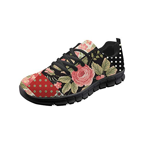 Flowerwalk Damen Turnschuhe Schnürer Sneaker Blumenmuster Sportschuhe Laufschuhe Freizeitschuhe Leichte Atmungsaktiv Fitness Gym Schuhe Straßenlaufschuhe Schwarz 36 EU